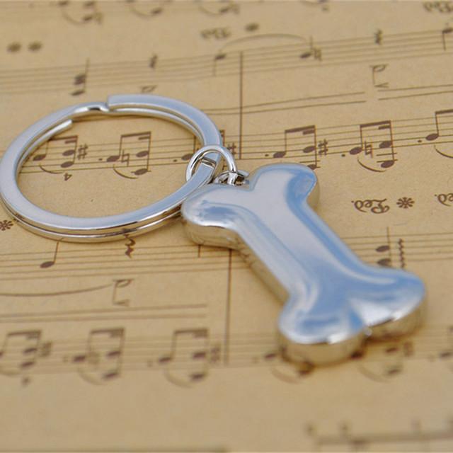 Hot 3D Fashion Metal Zinc Alloy Car Key Chain Charms Pendant Key Ring Dog Bone Keychain for Keys Bag Keyring Jewelry Accessories