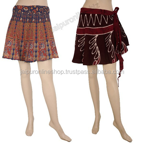 Indian Short Gypsy Bohemian Wrap Skirt Hippie Cotton Midi Knee Wrap Around Skirts