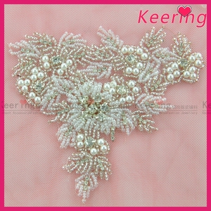 wholesale handmade beaded and bling rhinestone bridal lace applique WRA-862 578cf2ed077a