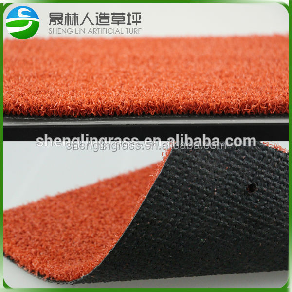 Cheap artificial red grass for swimming pool carpet GYM ,basketball field,badminton court