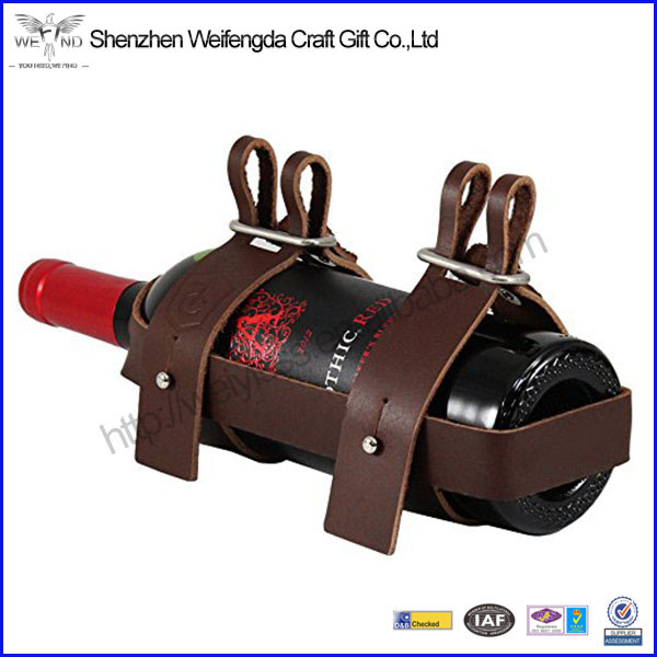 High-grade cowhide genuine leather wine bottle holder for bicycle