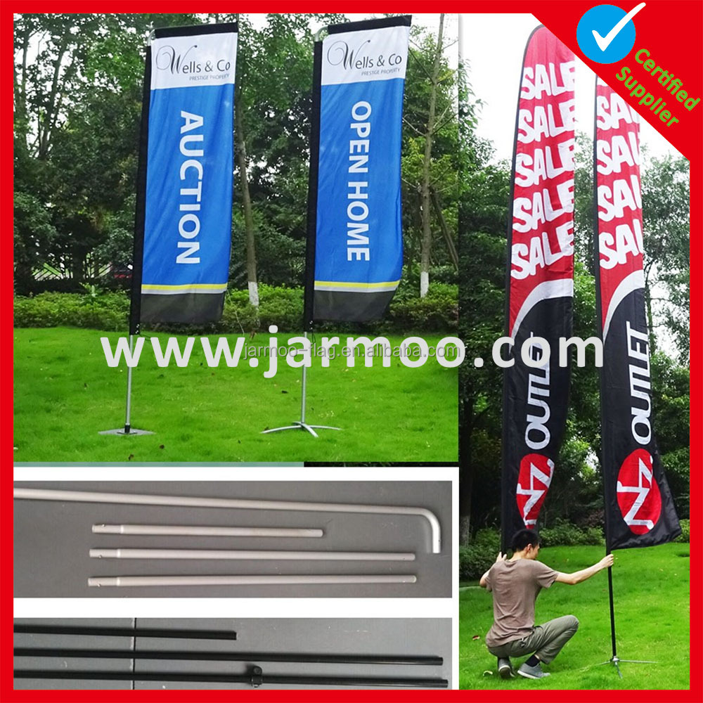 Free design custom size complete set flagpole and base and bag for feather flag