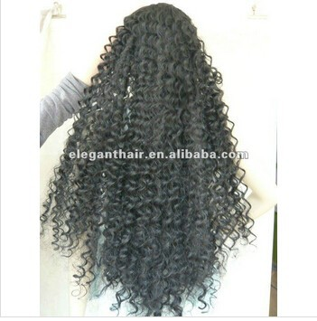 high quality synthetic hair super long natural color kinky curl half wig for black women