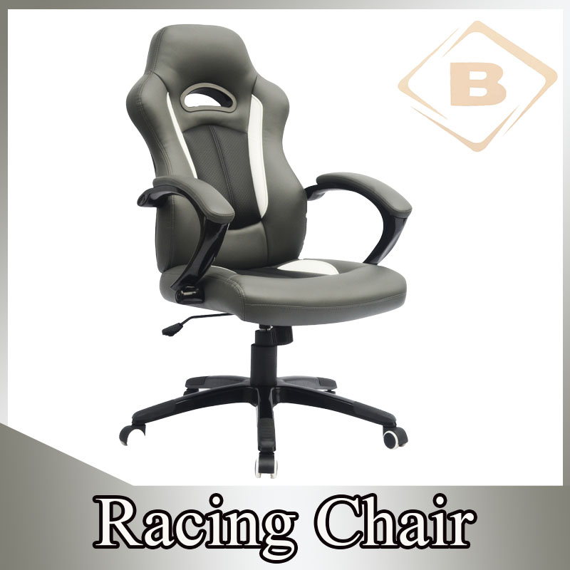 Executive PU Leather Ergonomic Office Gaming Chair with Black Powder Coated PU Cover Armrest