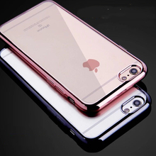 2017 Trending Products Electroplate Plating Edge Transparent Pure Color Ultra-thin Soft TPU Case for 6/6S/6 Plus/7/7 Plus