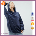 OEM factory high quality women fashion velvet sweatshirt simple pure hooded sweatshirt