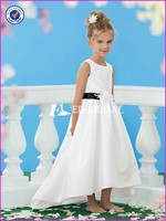 CE418 Charming Round Neck With Black Sash White Flower Girl Dresses With Train