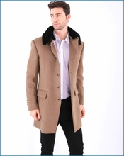 Fashion Style Camel Men's Wool Cashmere Overcoat With Fur Collar