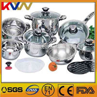 Factory sale 16pcs free stainless steel nonstick induction cookware set brands