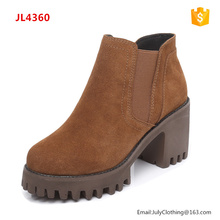 2017 Autumn Winter Women Sexy Chunky High Heel Genuine Leather Ankle Snow Boots