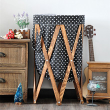 Fabric Printing Laundry Bags&Baskets with Wooden Shelf