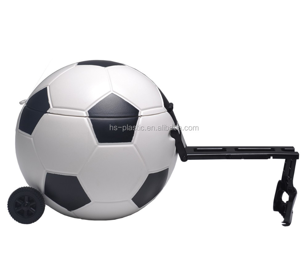 Plastic portable round football/soccer cooler table with wheels