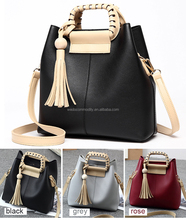 Ladies Bags European Stlish Summer and Winter Fashion bags Color contrast PU handbags fringes decorated classy shoulder bag
