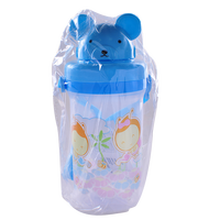2016 Top Sale Cute Bear 450ML Sling Baby Bottle With Straw Easy Carried