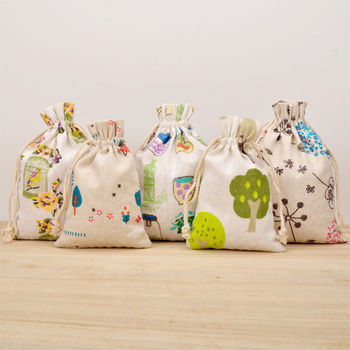 Handmade Birthday Festive Print Natural Cotton Linen Sacks Gifts Pouch Bag