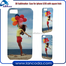Transfer Printing 3D sublimation cover for iphone5 big hole,3d sublimation machine vacuum transfer tools phone cases