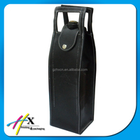 Exclusive Design Luxury PU Leather Single Bottle Wine Carrier Box