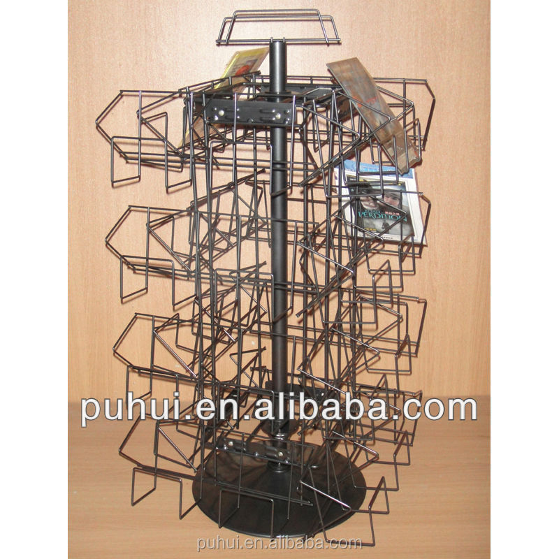 counter top spinning dvd display rack for shop promotion