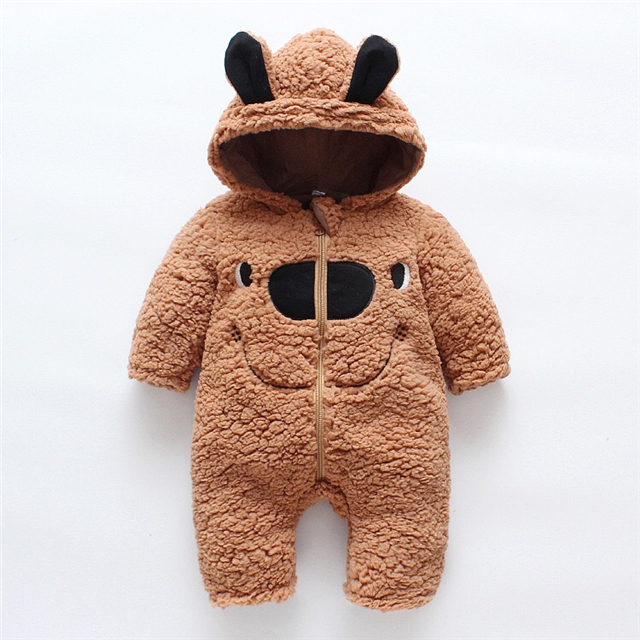 Western Thickened Jumpsuit Bear Hat Berber Fleece <strong>Baby</strong> Rompers