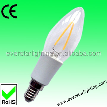 E14 Epistar 2W filament LED candle bulbs/ LED candle lighting / China manufacturer