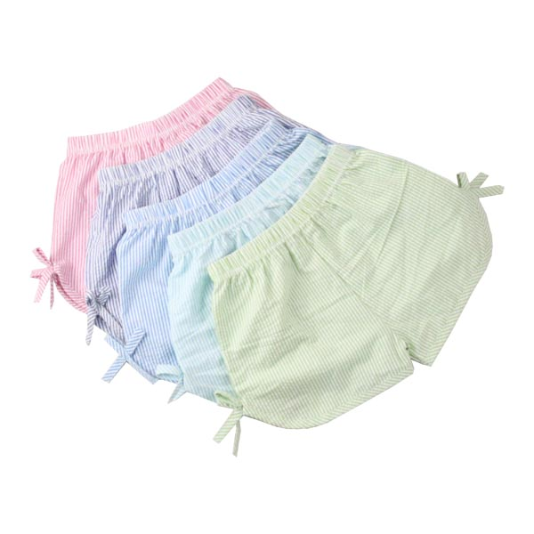 Hot sale boutique pink/navy/lime/tan baby shorts with limem bow striped kids shorts wholesale seersucker shorts girls