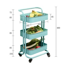 3 layer carbon steel kitchen and bathroom storage rack <strong>shelf</strong> with wheels