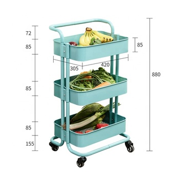 3 layer carbon steel kitchen and bathroom storage rack shelf with wheels