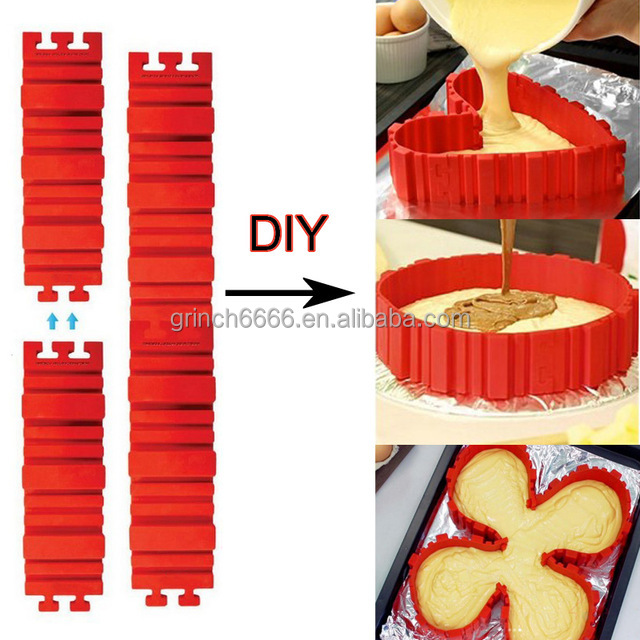 4 Pcs DIY Silicone Cake Baking square rectangular Round Shape Mold Magic Bakeware Bake cake snakes molud pastry tools