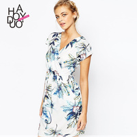 HAODUOYI Women Floral Painting Print Dress Deep V Mini Casual Dresses for Wholesale