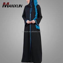 Hot Sale Muslim Abaya Long Sleeves Maxi Dress Black Kebaya Fashion Dubai Women Robe With Blue Sequin Wholesale Online