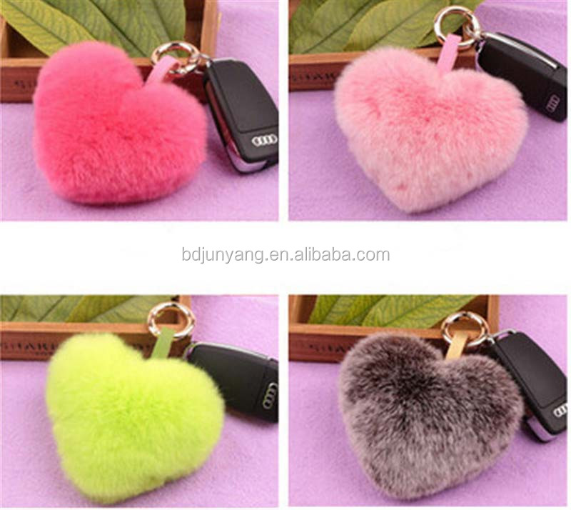 Sweet fur bag charm car pendant animal fur pendant heart shaped keychain