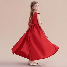 ZH1359Q 2019 Red Round Neck Cap short Sleeves Flower <strong>Girls</strong> <strong>Dresses</strong> for weddings with big Bow back Party Prom Birthday gowns