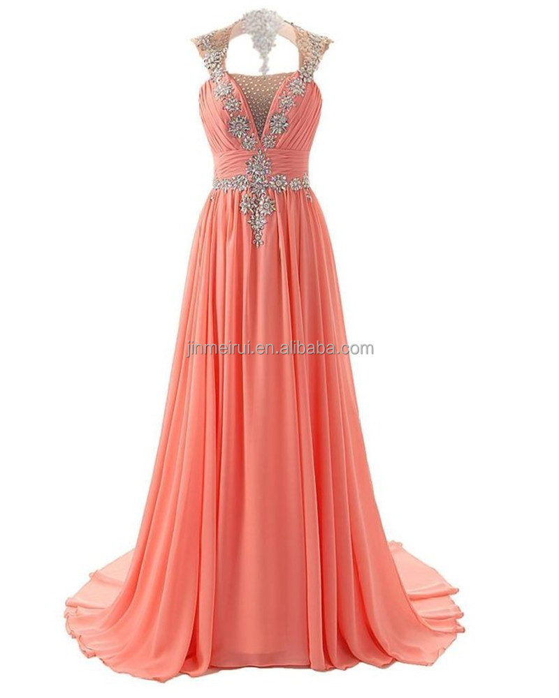 Robe De Soiree Dubai Evening Dresses Long 2016 High Quality Square Gorgeous Crystals Beaded Sequined Chiffon Prom Dress Vestidos