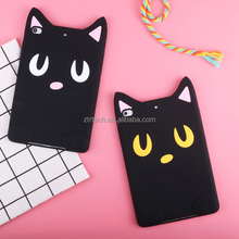 New Protective Case for ipad 2017 3d Cartoon Black Cat silicon Case for ipad new 2017 rubber tab case
