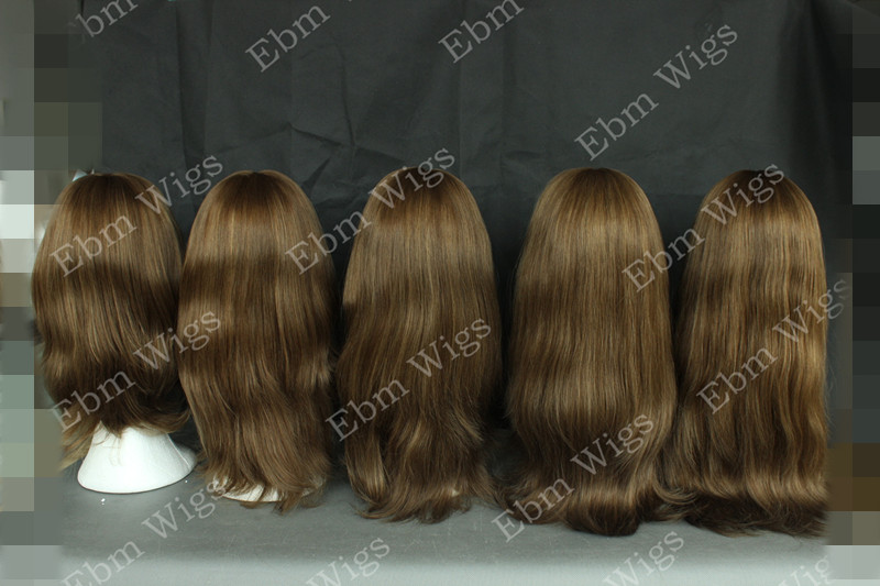 Factory Price Color Brown Virgin Brazilian Hair Jewish Wig With Multi- Directional For Women On Stock