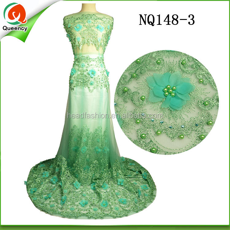 green 3d printing flower beaded applique African french lace fabric high quality 5yards for wedding dress