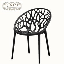 Wholesale cheap good quality hot selling stackable creative design black round egg chair plastic branch leisure chair with arm