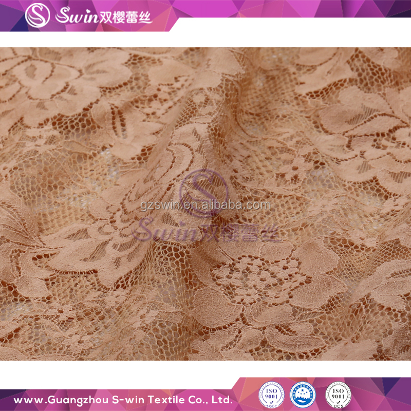 High performance wholesale Eco-Friendly Brown Crochet Cotton Guipure lace fabric for bridal dress