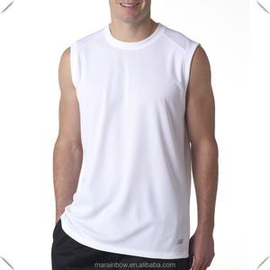8b8968b99901a1 White Plain Mens Workout t shirt 100% Polyester Dry Fit Sleeveless T-shirt  Performance