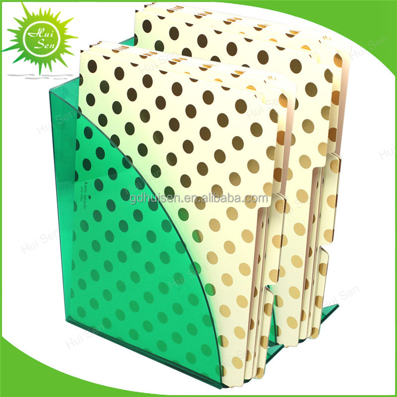 Green Acrylic Plastic Desktop Box Case Curves Magazine File Holder