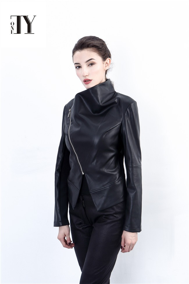 2016 HIGH QUALITY NEW DESIGN EUROPEAN CAUSAL HOT SEXY LADYIES PU LEATHER JACKET IN AUTUMN