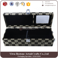 Fashion Single Leather Red Wine Box With Clear Window