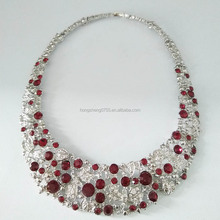 Wholesale Beautiful Diamond Coil Ruby Crystal Women Rhinestone Silver Choker Necklace