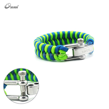high quality two color crossed weave paracord survival bracelet adjustable metal charms for paracord bracelet