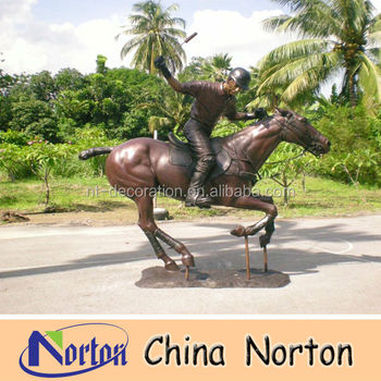 horse riding Bronze Equestrian Sculpture / bronze polo player sculpture NTBH-H004