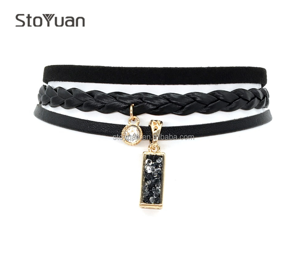 Black Leather Choker Necklace 3 Piece/Set Rhinestone Black Resin Pendant Fashion NE0006 Leather Choker Necklace