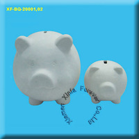 unpainted ceramic bisque pig money box