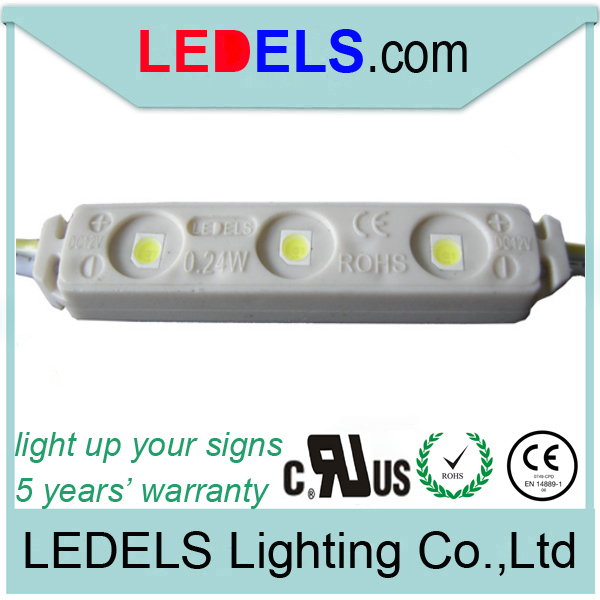 5 years warranty LED sign light,3 led, 0.24Watt 12v 3528 3 injection led module for Mini channel letter