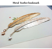 hot sale metal feather shape book mark holiday <strong>gift</strong>