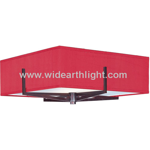UL CUL Listed Square Shaped Red Fabric Hotel Ceiling Lamp Whit Cross Metal Base C80144